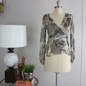 Zara Sheer Silk Wrap Blouse